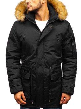 Чоловіча зимова куртка парка чорна Bolf R102