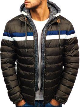 Чоловіча зимова куртка хакі Bolf A181