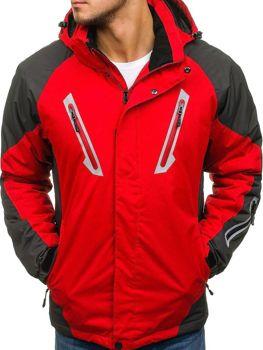 Чоловіча зимова лижна куртка червона Bolf F809