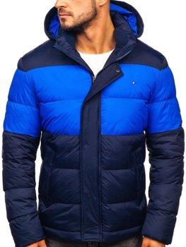 Чоловіча зимова спортивна стьобана куртка темно-синя Bolf 1975