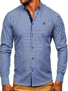 Чоловіча сорочка віші в клітку з довгим рукавом темно-синя Bolf 4712