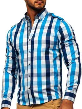 Чоловіча сорочка в клітину з довгим рукавом блакитна Bolf 2779