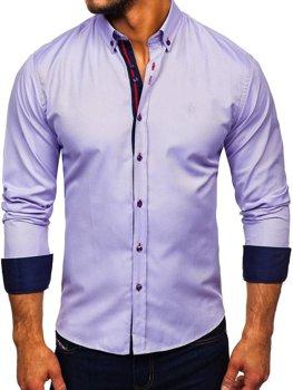 Чоловіча сорочка елегантна з довгим рукавом фіолетова Bolf 5801-а