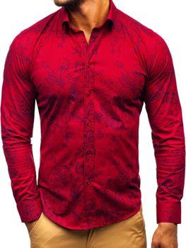 Чоловіча сорочка з візерунком з довгим рукавом бордова Bolf 200G68