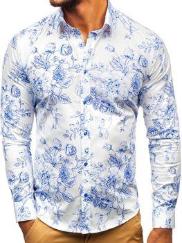 Чоловіча сорочка з візерунком з довгим рукавом біло-синя Bolf 200G66