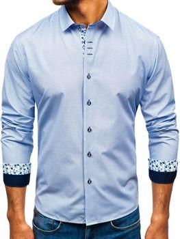 Чоловіча сорочка з візерунком з довгим рукавом біло-темно-синя Bolf 9704 7b27f2abc8c7f