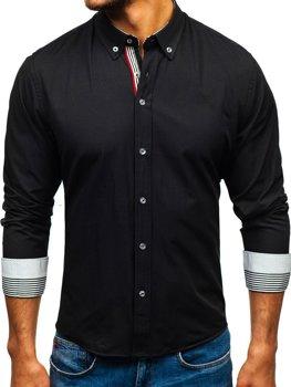 Чоловіча сорочка з візерунком та довгим рукавом, чорна Bolf 8843