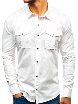 Чоловіча сорочка з довгим рукавом біла Bolf 2058-1