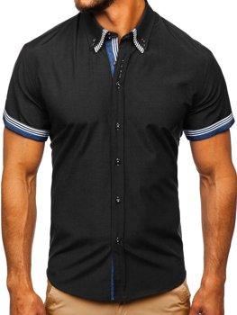 Чоловіча сорочка з коротким рукавом чорна Bolf 2911
