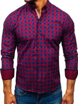 Чоловіча сорочка у клітину з довгим рукавом бордова Bolf 5816-A