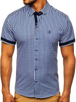 Чоловіча сорочка у клітину з коротким рукавом волошкова Bolf 4510