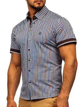 Чоловіча сорочка у клітину з коротким рукавом коричнева Bolf 4510