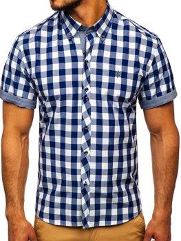 Чоловіча сорочка у клітину з коротким рукавом темно-синя Bolf 6522