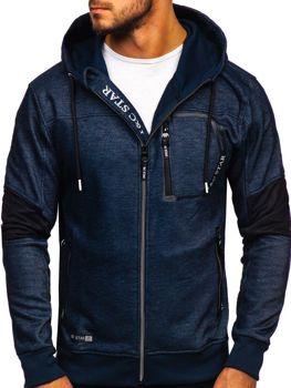 Чоловіча толстовка з капюшоном на застібці темно-синя Bolf TC869