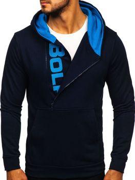 Чоловіча толстовка з капюшоном та принтом темно-синя Bolf 01