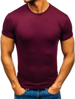 Чоловіча футболка без принта бордова Bolf 0001