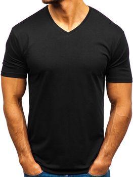 Чоловіча футболка без принта з v-подібним вирізом чорна Bolf 172010-A