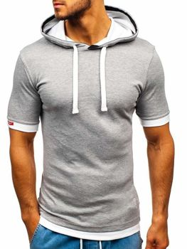 Чоловіча футболка з капюшоном сіра Bolf 08-1