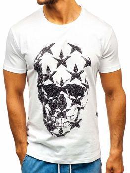 Чоловіча футболка з принтом біла Bolf 301