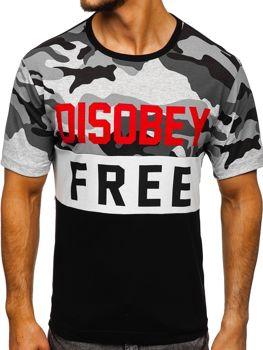 Чоловіча футболка з принтом камуфляж-чорна Bolf 6308 1c27330d0c002