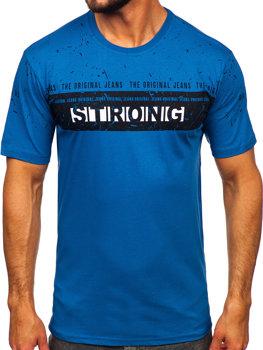 Чоловіча футболка з принтом синя Bolf 14204