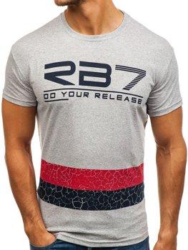 Чоловіча футболка з принтом сіра Bolf 0008