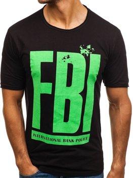 Чоловіча футболка з принтом чорна Bolf 6295