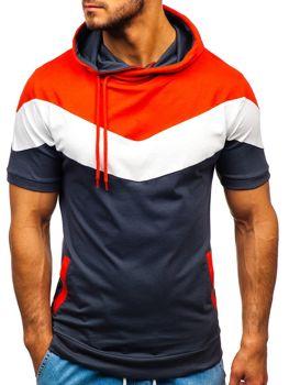 Чоловіча футболка з принтом і з капюшоном графітова Bolf 9026
