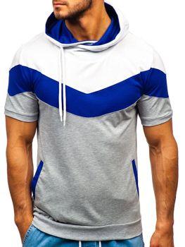 Чоловіча футболка з принтом і з капюшоном сіра Bolf 9026
