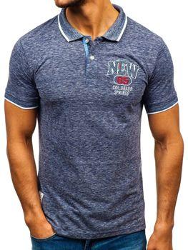 Чоловіча футболка поло темно-синя Bolf 19240