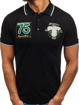 Чоловіча футболка поло чорна Bolf 0605
