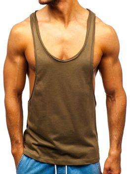 Чоловіча футболка tank top без принта хакі Bolf 1245