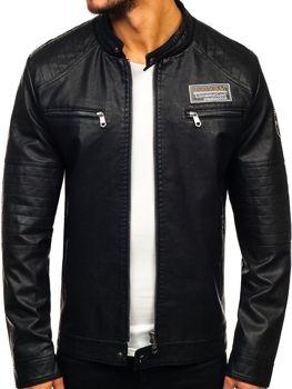 Чоловіча шкіряна куртка чорна Bolf 92580