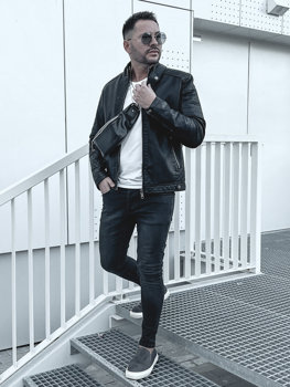 Чоловіча шкіряна утеплена куртка чорна Bolf 92535