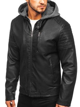 Чоловіча шкіряна утеплена куртка чорна Bolf 92543