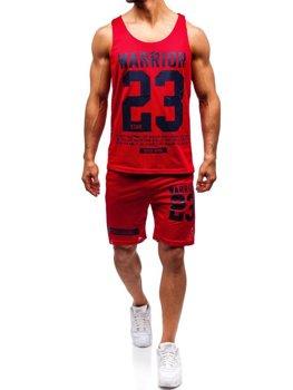 Чоловічий комплект футболка + шорти Bolf червоний 100778