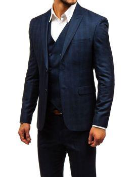 Чоловічий костюм у клітину з жилеткою темно-синій Bolf 17100 dd5d4932efc0f