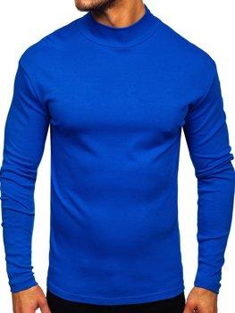 Чоловічий полугольф без принта синій Bolf 145348