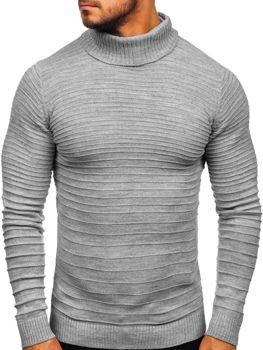 Чоловічий светр гольф сірий Bolf 4518