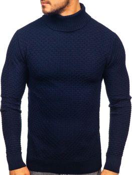 Чоловічий светр гольф темно-синій Bolf 322