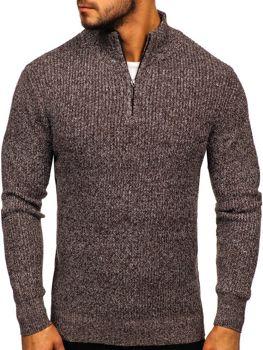 Чоловічий светр з коміром стійка коричневий Bolf H1936