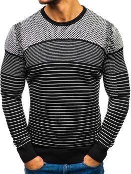 Чоловічий светр чорно-білий Bolf 1015