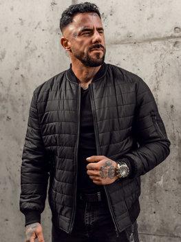 Чорна чоловіча демісезонна стьобана куртка-бомбер Bolf MY-02