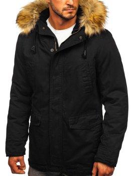 Чорна чоловіча зимова парку куртка Bolf 5284