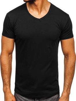 Чорна чоловіча футболка без принта з v-подібним вирізом Bolf 2007