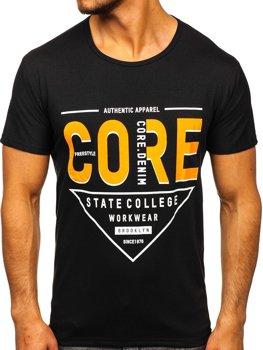 Чорна чоловіча футболка з принтом Bolf KS2098