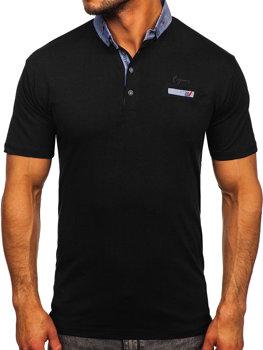 Чорна чоловіча футболка поло Bolf 192295