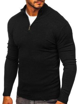 Чорний чоловічий светр з високим коміром стійка Bolf YY08