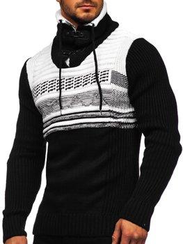 Чорний чоловічий светр товстої в'язки з коміром-стійкою Bolf 2020