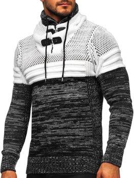 Чорний чоловічий светр товстої в'язки з коміром-стійкою Bolf 2058